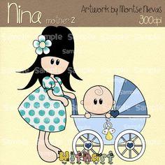 Menina carrinho de bebe