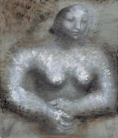 Figure,  by Barbara Hepworth - Date painted: 1929–1930 Oil & pencil on board, 30.5 x 26 cm Collection: The Pier Arts Centre