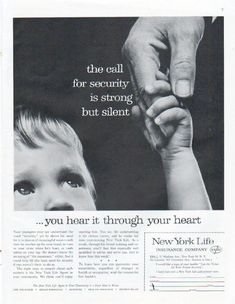 """Description: 1961 NEW YORK LIFE INSURANCE COMPANY vintage magazine advertisement """"call for security"""" -- the call for security is strong but silent ... you hear it through your heart -- Size: The dimensions of the full-page advertisement are approximately 10.5 inches x 13.5 inches (26.75 cm x 34.25 cm). Condition: This original vintage full-page advertisement is in Excellent Condition unless otherwise noted."""
