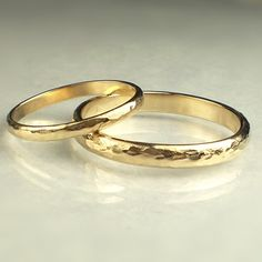 14k Solid Yellow Gold Wedding Band Set by JanishJewels on Etsy...would like these for my DH and me on our aneversary this year!