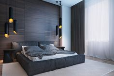 Wall panels wood bedroom dark shades pendant luminaires