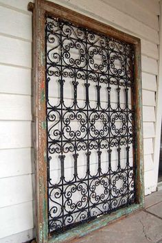 wrought iron window grills wholesale | Antiques Atlas - A Spanish Wrought Iron Grilled Window