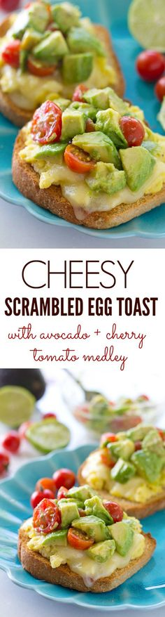 A fresh avocado cherry tomato salad is piled high over crisp toast, fluffy scrambled eggs and lots of melty cheese for one impressive, yet super-easy breakfast winner! @WholeHeavenly