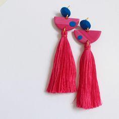 Pink Marble Half Moon Tassels. #pink #cobalt #blue #colour #earrings #statementearrings #tassel #tasselearrings #statement…