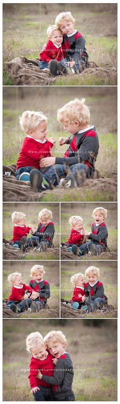 Portrait of two San Diego children playing in a field  Luke and Levi in a couple years