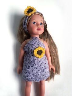 Sunflower Doll's Dress Crochet Pattern All Free Crochet, Crochet For Kids, Basic Crochet Stitches, Crochet Patterns, Yarn Crafts For Kids, American Girl Crochet, Doll Dress Patterns, Crochet Doll Clothes, Child Doll