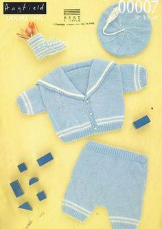 Hayfield 00007 baby sailor suit set vintage knitting pattern PDF instant download