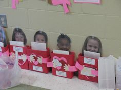 Personalized Valentine Mailboxes!!! Make with Cereal boxes, Student head shots, Construction paper, and Labels!!! Genius!!! #LoveThis #KindergartenRockStarTeacher