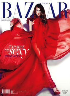 Aymeline Valade wears Gucci on the 2011 October cover of Harper's Bazaar España photographed by Txema Yeste.