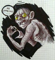 Gollum, penna a sfera e pennarello su carta, di Matteo Tirimagni.