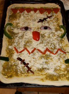 Halloween dinner: Frankenstein pizza.