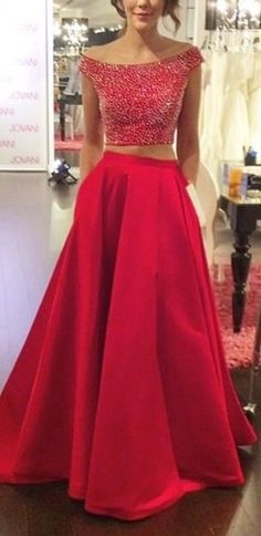Two piece prom dress in red - http://www.luulla.com/product/492564/two-pieces-prom-dresses-backless-prom-dresses-prom-dresses-2016-two-pieces-prom-dress-prom-dress-2016-two-pieces-evening-dresses