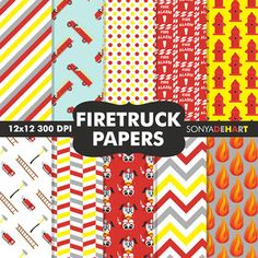 Digital Papers -  Fire Truck Papers FREEBIE