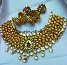 Jewellery Designs: Antique Necklace with Kundan Jhumkas