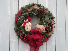 Christmas Wreath Snowman Wreath Holiday Wreath by KathysWreathShop