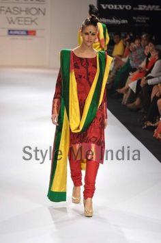 bright bright baby! love the big green bindi!....Gaurang Shah at Lakme fashion week winter festive 2012