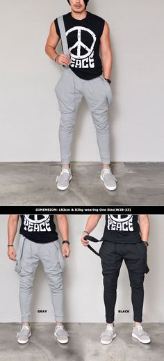 Suspender Baggy Jogger-Sweatpants 307 by.Guylook.com  Great quality jersey cotton Detachable suspender Flattering slim drop baggy cut with cuffed legs