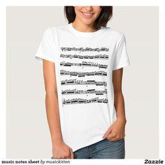 music notes sheet tshirt