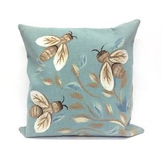 This Blue Bee Pillow mimics the serenity of a garden with its bee and vine pattern. Its soft colors make any outdoor space a little more tranquil. Outdoor Cushions And Pillows, Throw Pillows, Kirkland Home Decor, I Love Bees, One Stroke Painting, Vine Design, Bee Happy, Button Flowers, Bees Knees