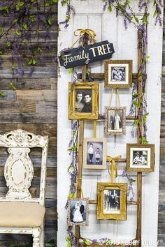 Creatively display family photos at your wedding with a one-of-a-kind family tree. we picked out frames to hang on a rustic-looking ladder for ours! Display Family Photos, Old Family Photos, Family Tree Photo, Photo Tree, Family Trees, Tree Wedding, Ladder Wedding, Wedding Decor, Wedding Dress
