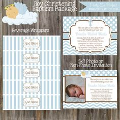 Blue and Brown Baptism Christening or Dedication by PartySoPerfect, $30.00