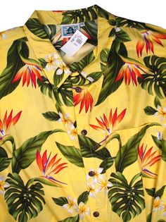 5c63af57 6XL BIG. YELLOW Retail $ 75.00 Short Sleeve Tropical by HIGHWAY ONE.  TROPICAL PRINT Whs A: 1