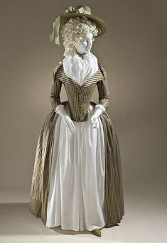 Europe Woman's Redingote, circa 1790 Costume/clothing principle attire/entire body, Silk and cotton satin and plain weave, Center back length: 61 in. cm) Purchased with funds provided by Robert and Mary M. Looker Costume and Textiles Department. 18th Century Dress, 18th Century Costume, 18th Century Clothing, 18th Century Fashion, 19th Century, Historical Costume, Historical Clothing, Rococo Fashion, Vintage Fashion