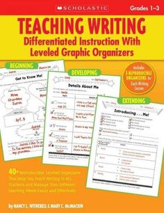 Help every primary learner build basic writing skills with graphic organizers designed at three levels of challenge. Each of the 15 model lessons in this book is paired with three ready-to-use organiz
