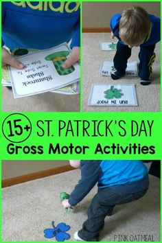 A HUGE list of St. Patrick's Day Gross Motor Activities! I love the Rainbow Relay, St. Patrick's Day Yoga, and Clover Hop!