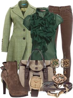 """""""Brown Jeans and Green"""" by gangdise on Polyvore"""