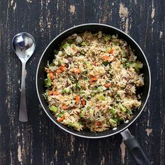 Garlic Fried Rice with Celery, Mushrooms, Broccoli, Bell Peppers, Carrots and Peas. Glutenfree Vegan Recipe | Vegan Richa
