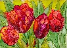 "Tulips, Original Alcohol Ink Painting 9x12"" Art. $68.00, via Etsy."