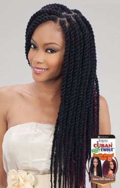 "Freetress Equal Synthetic Hair Braids Double Strand Style Cuban Twist 16"" Cuban Twist Braids for a Havana Style and Double Strand Style 100% permium Soft Kaneka"