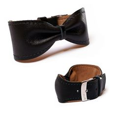 Leather bow bracelet cuff bangle  adjustable by BrandiaManufacture, $14.00