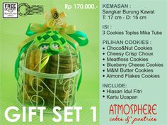 Cookies Gift Set | Price : 170 K nett | Content : 3 Cookies in tubes | Packaging: Wire Birdcage | Incl: Decoration & Greeting Card | Free Delivery for BDG area