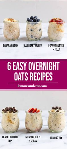 Wondering where to start with overnight oats? Start here! Learn all you need to know when starting out with overnight oats and try these 6 easy overnight oats flavors that will certainly become your favorite! Overnight Oats Receita, Easy Overnight Oats, Best Overnight Oats Recipe, Whole Food Recipes, Cooking Recipes, Cooking Tips, Freezer Recipes, Freezer Cooking, Drink Recipes