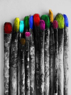 Hmmm... paint brushes with paint on them... Why do I love this picture?
