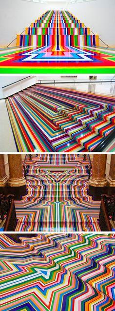 Technicolor Rainbow Tape Floor Installations by Jim Lambie