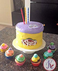 "Play Doh custom cake ~chocolate cake + alternating white & dark chocolate ganache filling + fondant-covered/logo/details Vanilla custom cupcakes ~vanilla cake + chocolate frosting + fondant ""piped frosting"""