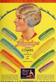 Lorraine Combs & Sports Hair Nets ad, 1933