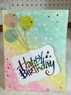 Foil sentiment inlay with gelato water color background birthday card
