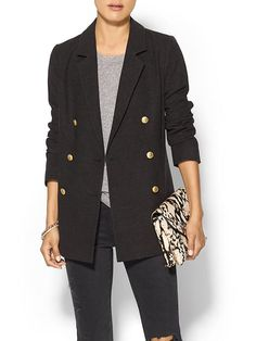 Piperlime Collection womens long blazer in black - double breasted with button front closure