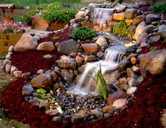 The waterfall/stream portion of a Just-A-Falls system is built the same as a normal water feature, however, the retention basin at the bottom is much easier and faster to build than a normal pond.