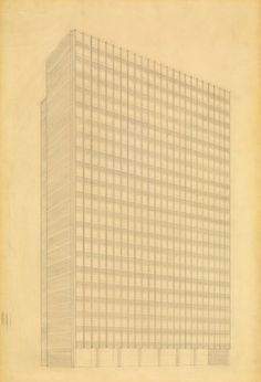 Promontory Apartment Building, Chicago, Illinois, Perspective (from southeast) Ludwig Mies van der Rohe (American, born Germany. 1886–1969)  1946. Pencil on tracing paper, 30 1/4 x 20 1/4 (76.8 x 51.4 cm). Mies van der Rohe Archive, gift of the architect. © 2013 Artists Rights Society (ARS), New York / VG Bild-Kunst, Bonn