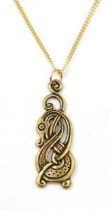 Celtic Norse Viking Intertwined Dragon Bronze Pendant Necklace Made in USA - This unique pendant necklace, made in America, features a bronze Viking dragon.  Makes a great gift for fans of Viking style. $24.99