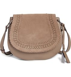 Main Image - Vince Camuto Kirie Suede & Leather Crossbody Saddle Bag (Nordstrom Exclusive)