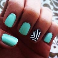 Mint, black, and white #nails
