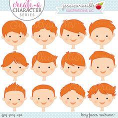 Caras de niño color caoba crear una serie de caracteres
