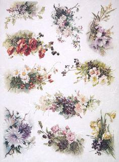Rice Paper for Decoupage Decopatch Scrapbook Craft Sheet A/3 Flower Bouquets