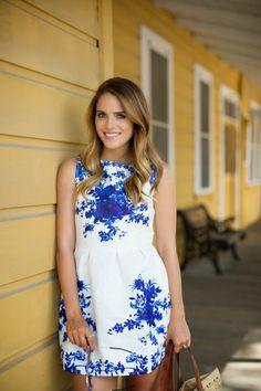 Gal Meets Glam - Blue & White Dress
